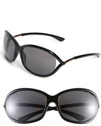Tom Ford Jennifer 61mm Polarized Open Temple Sunglasses Shiny Black Grey Polarized