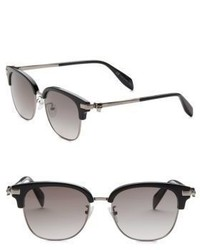 Alexander McQueen Kering 55mm Rectangular Square Sunglasses