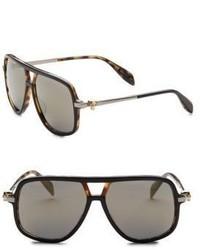 Alexander McQueen Kering 58mm Rectangular Square Sunglasses