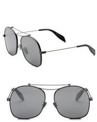 Alexander McQueen Kering 59mm Rectangular Square Sunglasses