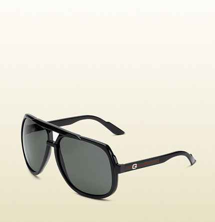 14593ea624fb ... Gucci Large Aviator Sunglasses With G Detail And Signature Web On  Temple ...