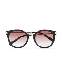 Le Specs Last Dance Round Frame Acetate And Gold Tone Sunglasses