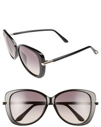 Tom Ford Linda 59mm Special Fit Butterfly Sunglasses Black Gold Grey Gradient
