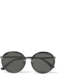 Dries Van Noten Linda Farrow Round Frame Gunmetal Tone And Acetate Sunglasses
