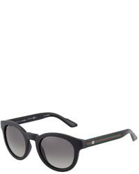 Gucci Matte Plastic Logo Web Sunglasses Black