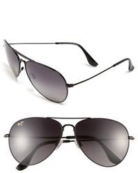 Maui Jim Mavericks 61mm Polarizedplus2 Aviator Sunglasses Glossy Black Neutral Grey