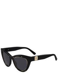MCM Trimmed Cat Eye Logo Temple Sunglasses Black