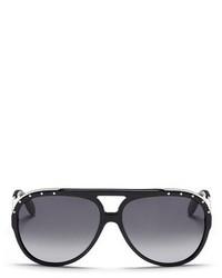 Alexander McQueen Metal Temple Stud Aviator Sunglasses