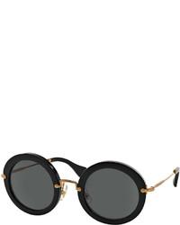 Miu Miu Round Acetate Sunglasses Black