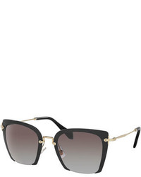 Miu Miu Square Gradient Cutoff Sunglasses Black