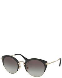 Miu Miu Trimmed Gradient Cat Eye Sunglasses Black