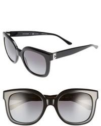 Tory Burch Modern T 54mm Gradient Cat Eye Sunglasses Black Polar