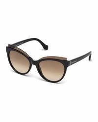 Balenciaga Monochromatic Acetate Cat Eye Sunglasses Brown Havana