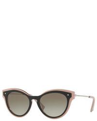 Valentino Monochromatic Oval Rockstud Sunglasses