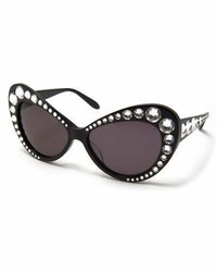 Moschino Jeweled Dramatic Cat Eye Sunglasses Black
