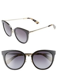 Kate Spade New York Jazzlyn 51mm Cat Eye Sunglasses Black Gold