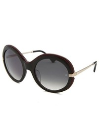 Nina Ricci Round Black Burgundy Sunglasses