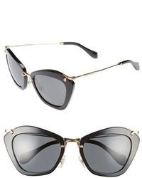 Miu Miu Noir 55mm Cat Eye Sunglasses Black