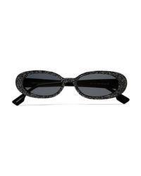 Le Specs Outcast Round Frame Glittered Acetate Sunglasses