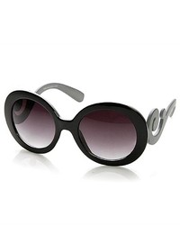 ZeroUV Oversized Fashion Baroque Swirl Arm Round Sunglasses