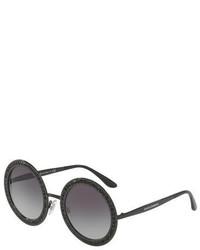 Dolce & Gabbana Oversized Round Metal Swarovski Sunglasses