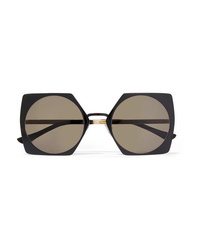 Marni Oversized Square Frame Acetate And Gold Tone Sunglasses