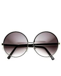 ZeroUV Oversized Two Tone Glam Metal Circle Round Sunglasses