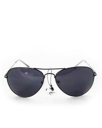 Overstock 387 Black Aviator Sunglasses
