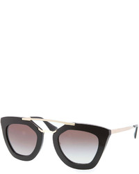 Prada Cat Eye Double Bridge Sunglasses Black