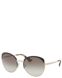 Prada Gradient Capped Butterfly Sunglasses Black