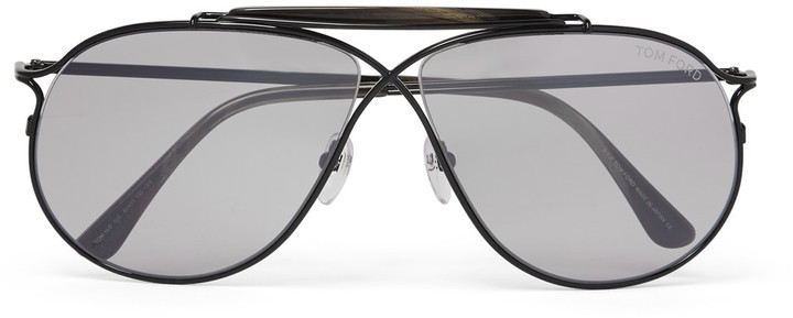 ec76af2ee451 ... Black Sunglasses Tom Ford Private Collection Aviator Style Horn Trimmed  Titanium Photochromic Sunglasses ...