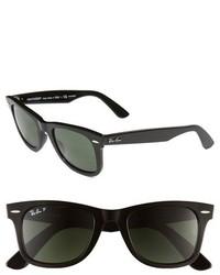 Ray-Ban Classic Wayfarer 50mm Polarized Sunglasses Black Polarized