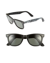 Ray-Ban Classic Wayfarer 50mm Polarized Sunglasses Matte Black None