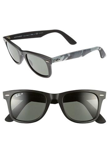 Ray-Ban Classic Wayfarer 50mm Polarized Sunglasses Matte Black None