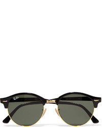 Ray-Ban Clubround Acetate And Gold Tone Sunglasses Black