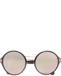 Prada Round Frame Acetate And Gold Tone Mirrored Sunglasses Black