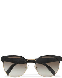 Prada Round Frame Acetate And Gold Tone Sunglasses Black