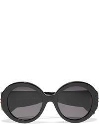 Alexander McQueen Round Frame Acetate Sunglasses Black
