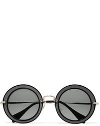 Miu Miu Round Frame Acetate Twill And Gold Tone Sunglasses Black