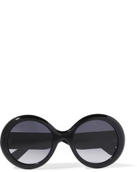 Gucci Round Frame Glittered Acetate Sunglasses Black