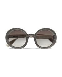 Miu Miu Round Frame Glittered Acetate Sunglasses
