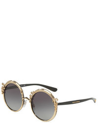 Dolce & Gabbana Round Metal Adorned Sunglasses