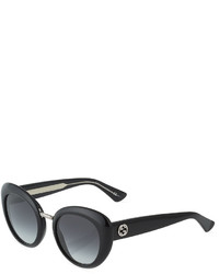 Gucci Round Plastic Sunglasses Black