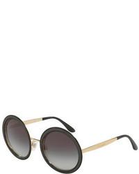 Dolce & Gabbana Round Ridged Metal Sunglasses