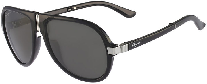 gladiator sunglasses  Salvatore Ferragamo Foldable Gladiator Sunglasses Black