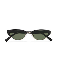 Le Specs Squadron Oval Frame Acetate And Silver Tone Sunglasses