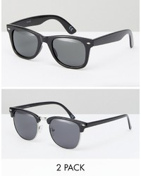 Asos Square And Retro Sunglasses 2 Pack In Black Save