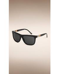 Burberry Square Frame Check Detail Sunglasses