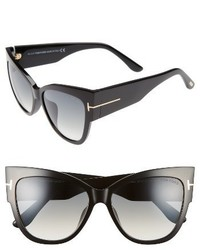 Tom Ford Anoushka 57mm Special Fit Butterfly Sunglasses Black Gradient Grey Lenses