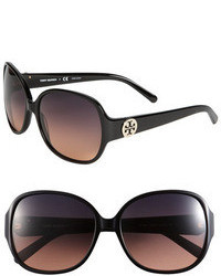 Tory Burch 59mm Disco Logo Rounded Sunglasses